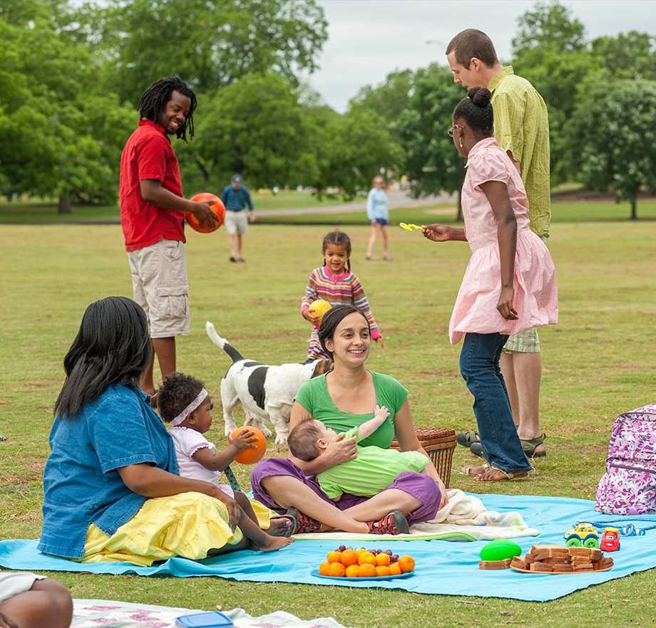 Need activity ideas? Play with the kids in the park.