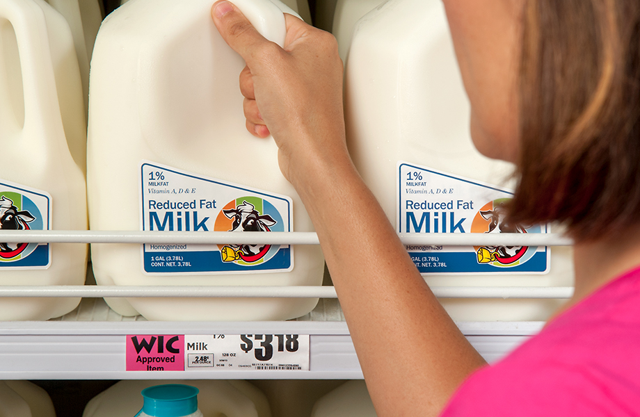 "Look for the pink ""WIC Approved Item"" stickers on the grocery store shelves."