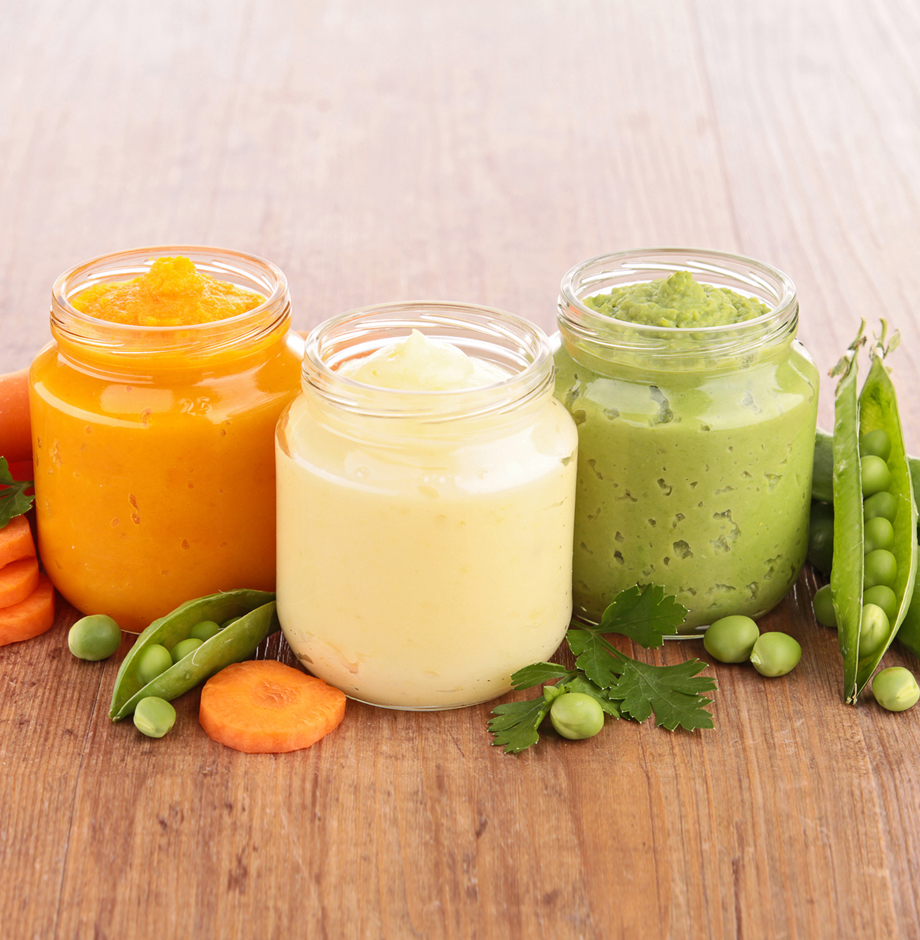 "Baby food is ""pureed"" when foods are softened and crushed into a paste or liquid."