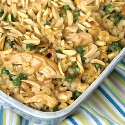 This hearty and delicious casserole packs fiber and protein with brown rice, peas, and chicken.