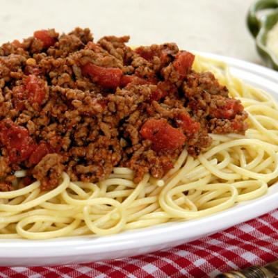 Spaghetti pasta in a delicious meat sauce, is great for any night of the week.