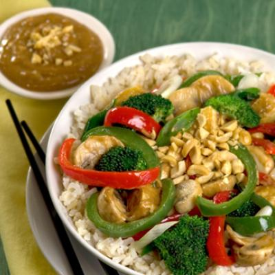 This stir-fry has lots of veggies and a peanut sauce everyone will love.
